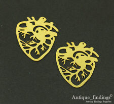 Exclusive 4pcs Raw Brass Heart Charm Pendant For Necklace Earring TG030