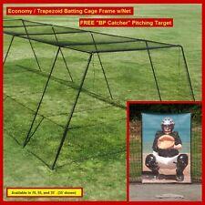 "55' Trapezoid Baseball Batting Cage Frame w/#36 Net, FREE ""BP Catcher"""