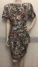 Vintage Saint Romei Saks Fifth Ave Floral Red White Black Sz 6 Dress