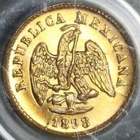 1898-Cn/Mo PCGS MS 64 Mexico Gold 1 Peso Culiacan Mint Lustrous Coin (19111401D)