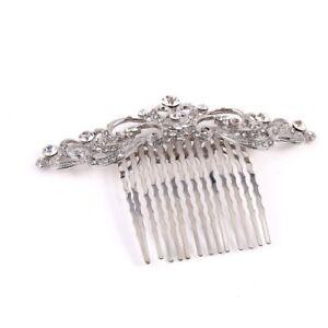 Silver tone hair comb bridal wedding rhinestone crystal hair accessories ha273