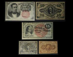 Fractional Currency Set of 5 Different Notes No Reserve Auction 99C Opening Bid