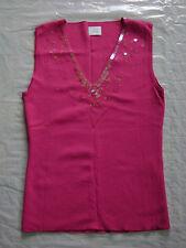 Superbe haut habillé fuschia avec séquins, T 2, CAMAIEU, NEUF