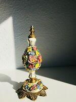 "10"" Antique Table Lamp Capodimonte Manises Porcelain Flowers Bronze"