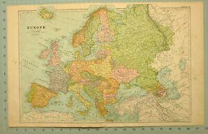 1922 MAP EUROPE ICELAND BRITISH ISLES SPAIN ITALY SWEDEN NORWAY DENMARK UKRAINE
