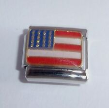 AMERICAN FLAG Italian Charm - USA US United States of AMERICA 9mm Classic Size