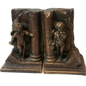 Murobello Heavy Antiqued Bronzed Patina Cherubs Books Bookends Carved Details