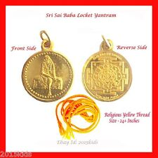 Shirdi Sai Baba Yantra Pendant Locket + Thread Hindu Goddess Religious US Seller