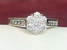 VINTAGE ESTATE 10K WHITE GOLD 7 DIAMOND FLOWER CLUSTER RING ENGAGEMENT APPRAISAL