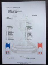 1952-53 Scottish Cup Final Replay Rangers v Aberdeen matchsheet