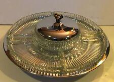 Vintage Mid-century Kromex Dazzling Chrome & Glass Serving Lazy Susan MIB