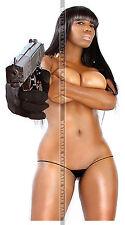 503 FRIDGE TOOL BOX MAGNET PIN UP GIRL HOT NYNA BLACK BIG BREAST BOOBS HAND GUN