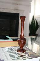 Vintage Mid Century Modern /Hollywood Regency Wood Walnut Bud Vase