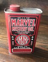 Vtg Marvel Mystery Oil 1 Pint Can Metal No Barcode, Early Rare, Full Original