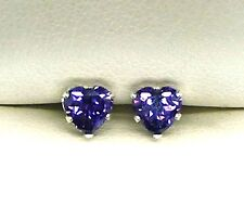 925 STERLING SILVER AMETHYST STUD EARRINGS 5mm HEART CREATED STONE