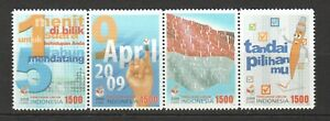 INDONESIA 2009 GENERAL ELECTIONS STRIP COMP. SET OF 4 STAMPS IN MINT MNH UNUSED