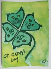 ACEO Original Watercolor Cat 4 Leaf Clover Shamrock St Cattys Day Irish No17 KEK