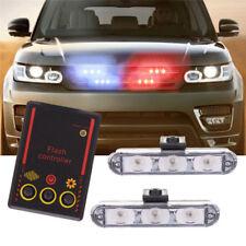 2x 3 LED Car SUV Emergency Warning Beacon Flash Strobe Light Bar Grille Blue&Red