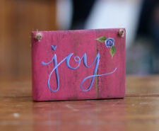 Joy Sign Ornament Floral Colorful Distressed Hand painted 4 inch Free Shipping