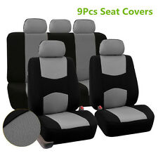 9 Pcs Car SUV 5-Seats Seat Cover Mesh Polyester Front+Rear Cover Protector Gray