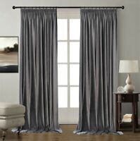 HUGE CURTAINS GREY VELVET THERMAL BLACKOUT PENCIL PLEAT EXTRA LONG EXTRA WIDE