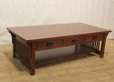 Crafters And Weave Mission Solid Oak Coffee Table With Three Drawers Spindles