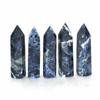1pc Natural Blue Sodalite Quartz Crystal Points Stone Healing Wand Obelisk Tower