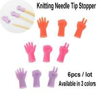 6PCS Knitting Needles Point Protectors Needle Tip Stopper Weave Tool Sewing B3T9