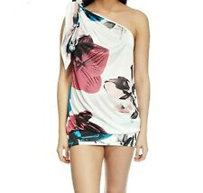 Miss Sixty one shoulder summer white pink blue floral mini dress Small 8 10 New