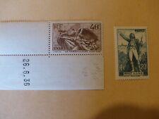 """TIMBRE FRANCE 1936 """" YT 314 & 315 1 coin de feuille numéroté"""