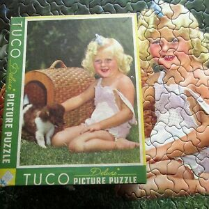Vintage Tuco Deluxe Picture Puzzle CUTE Girl in Sun suit & PUPPY 300 to 500 PC