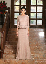 Classy Mother of The Bride Groom Lace Dress Formal 3/4 Sleeve Evening Long Gown Blush 3xl
