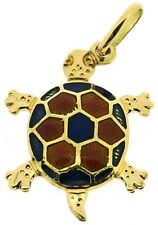 18Carat 18ct yellow gold turtle tortoise reptile pendants African charm red blue