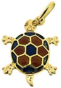 18ct yellow gold charm turtle tortoise reptile pendants African red blue vintage