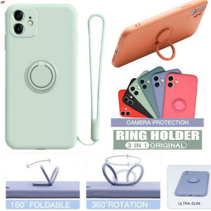 For iPhone 13 12 11 Pro Max XR XS Liquid Silicone Slim Ring Stand Case Cover