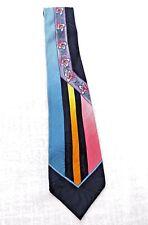 Gianni Versace Silk Tie Pink Blue Floral Handmade in Spain