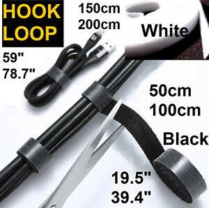 Cable tidy organiser hook & loop fix tie self wrap lot reuse grip tack  UK