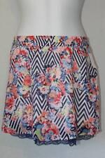 NEW Womens Short Mini Skirt Size Medium Sheer Blue Chevron Floral Lace Spring