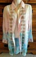 Soft Surroundings Gilded Paisley Blouse Tie Dye Embroidered Button Up Tunic XS