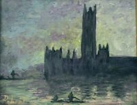 "Monet Parliament in Pastel Colour Painting Impressionism signed ""Robert"" COA"