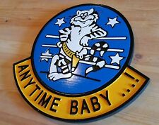 Anytime Baby f14 Navy Tomcat Sign 3D routed wood sign plaque Custom