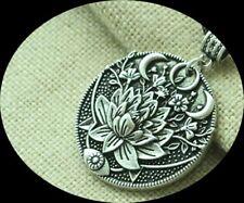 Lotus Triple Moon Goddess Mandala Necklace - Gorgeous! ART! NEW USA SHIP