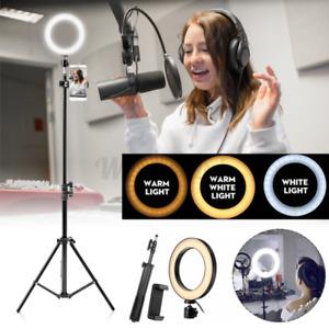 LED Selfie Flash Ring Light + Mobile Phone Holder + 1.6M Tripod Kit For Phone UK