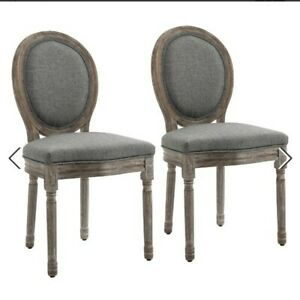 @ Set of 2 Elegant French-Style Dining Chairs w/ Wood Frame Foam Seats 50:21