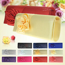 UK Wedding Women Evening Satin Envelope Floral Party Prom Clutch Bag Handbag