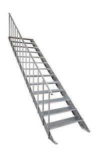 Außentreppe Kreta - feuerverzinkt m. Geländer - 13 Stufen - Breite: 100 cm