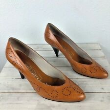 Evan Picone Vintage Leather Luggage Dotted Cone Heel 6M