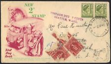 AUSTRALIA U.S. 1951 FDC OF NEW 2D STAMPS WITH POSTAGE DUE AT SEATTLE, WASHINGTON