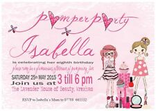 10 Personalised Girl Childrens Pamper  Birthday Party Invitations orThank you