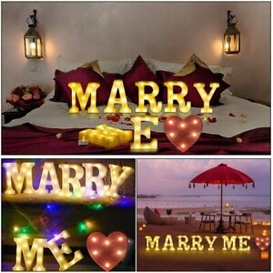 MARRY ME + Heart -LED Alphabet Letter Lights Marquee Night Light Up Sign Wedding